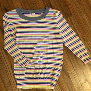 Striped J.Crew Quarter-Sleeve Sweater
